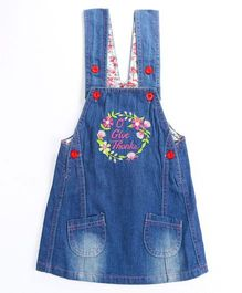 Pre Order - Awabox Flower Embroidary Dunagree Styled Dress - Blue