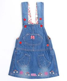 Pre Order - Awabox Rainbow Print Dungaree Styled Dress - Blue