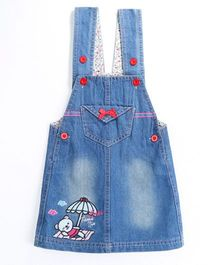 Pre Order - Awabox Beach Theme Dungaree Styled Dress - Blue