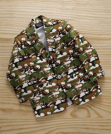 Rikidoos Camouflage Print Blazer With Full Sleeves - Green