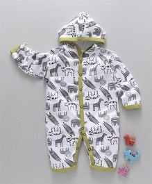 Mini Taurus Full Sleeves Hooded Romper Animal Print - Green