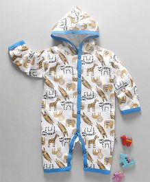 Mini Taurus Full Sleeves Hooded Romper Animal Print - Blue
