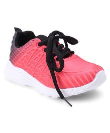 Cute Walk by Babyhug Lace Up Sports Shoes - Peach Black