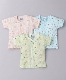 Pink Rabbit Short Sleeves Vests Pack of 3 - Peach Light Green Sky Blue