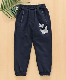 Babyhug Full Length Lounge Pant Butterfly Print - Navy
