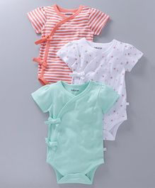 Babyoye Short Sleeves Front Tie Knot Onesies Pack Of 3 - Coral White Sea Green