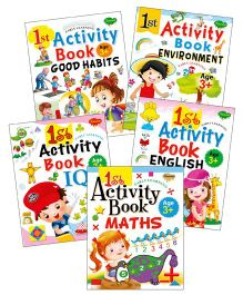 Sawan 1st Activity Books Good Habits Environment IQ English Maths Set of 5 - English