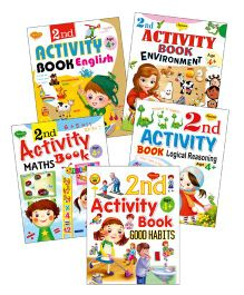 Sawan 2nd Activity Books Good Habits Environment Logical Reasoning English Maths Set of 5 - English