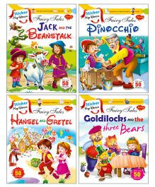 Sawan Sticker Activity & Story Books Jack & Beanstalk Pinocchio Hansel & Gretel Goldilocks & The 3 Bears Set of 4 - English