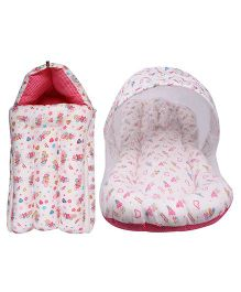 Little Hug Mattress Set With Mosquito Net & Sleeping Bag Combo Set Floral Print - Pink