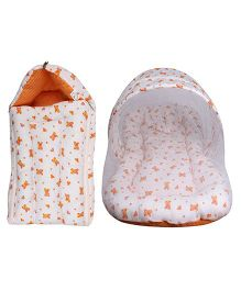 Little Hug Mattress Set With Mosquito Net & Sleeping Bag Combo Set Car Print - Orange