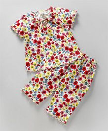 Teddy Short Sleeves Night Suit Floral Print - White Red