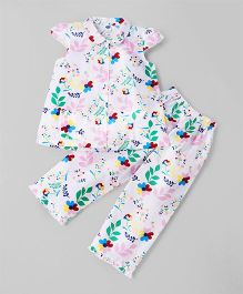 Teddy Cap Sleeves Night Suit Floral Print - Pink & White