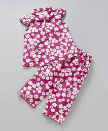 Teddy Cap Sleeves Night Suit Floral Print - Pink