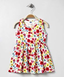Teddy Sleeveless Frock Floral Print - White Multi Color
