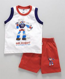 Teddy Sleeveless Tee And Shorts Robot Print -  White Red