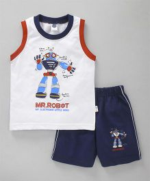 Teddy Sleeveless Tee And Shorts Robot Print -  White Navy Blue