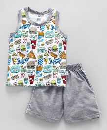 Teddy Sleeveless Tee And Shorts Food Print - Grey
