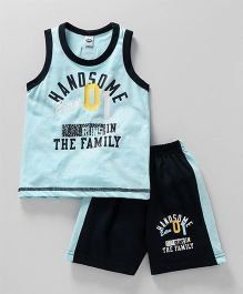 Teddy Sleeveless Tee And Shorts Text Print - Blue