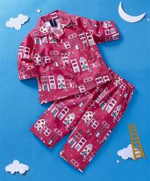 Enfance Core House Print Night Suit - Hot Pink