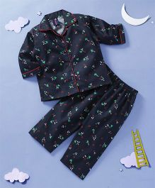 Enfance Core Floral Print Night Suit - Navy