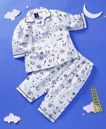 Enfance Core Full Sleeves Printed Night Suit - White