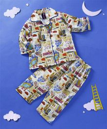 Enfance Core Travel Printed Night Suit - White