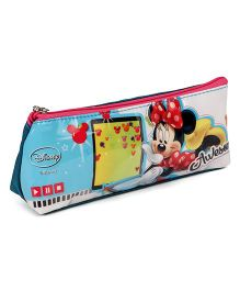 Disney Zipper Pencil Pouch Minnie Print - Dark Blue & Pink