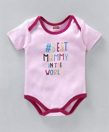 Babyhug Short Sleeves Onesie Text Print - Light Pink
