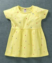 Zero Short Sleeves Frock Heart Print - Yellow