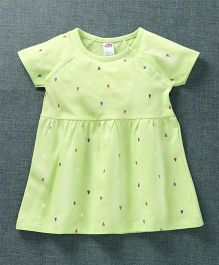 Zero Short Sleeves Frock Heart Print - Green