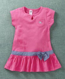 Zero Short Sleeves Frock Bow Applique - Pink