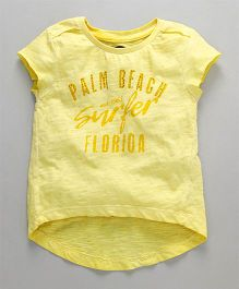 Vitamins Half Sleeves Tee Palm Beach Print - Yellow