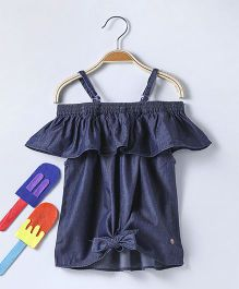 Vitamins Party Wear Singlet Tie Knot Style Top - Dark Blue