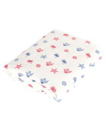 BROTHERBABY Starfish Print Baby Swaddle - White Red & Blue