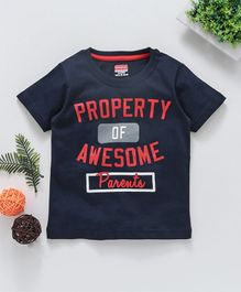 Babyhug Half Sleeves T-Shirt Awesome Parents Print - Navy Blue