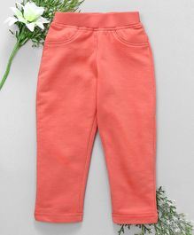 Babyhug Full Length Solid Colour Lycra Jeggings - Coral