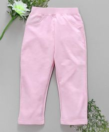 Babyhug Full Length Solid Colour Lycra Jeggings - Light Pink