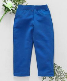 Babyhug Full Length Solid Colour Lycra Jeggings - Royal Blue