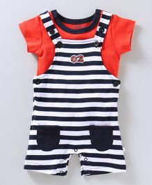 Babyoye Striped Dungaree Romper & Tee - Red & Navy
