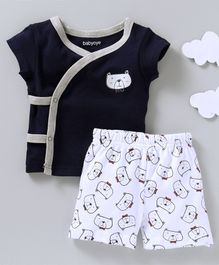 Babyoye Short Sleeves Vest & Shorts Set Bear Print - Navy Blue