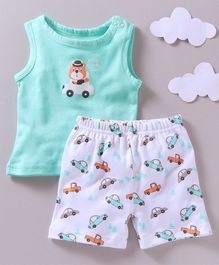 Babyoye Sleeveless T-Shirt And Shorts Vehicle Print - Sea Green