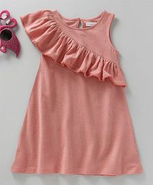 Babyoye Sleeveless Frock Ruffled Pattern - Coral