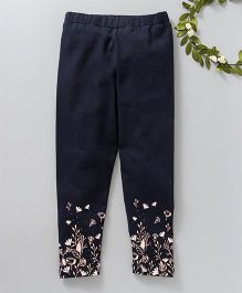 Babyoye Full Length Stretchable Leggings Floral Print - Navy
