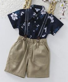 ToffyHouse Half Sleeves Floral Print Shirt & Shorts With Suspender Set - Navy Beige