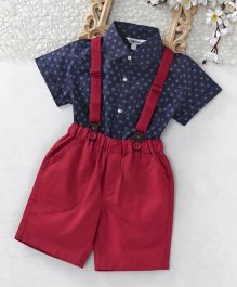 ToffyHouse Half Sleeves Square Printed Shirt & Shorts With Suspender Set - Navy Red