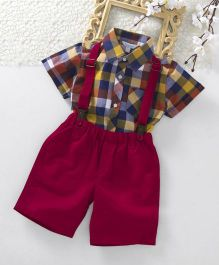 ToffyHouse Half Sleeves Check Shirt & Shorts With Suspenders - Multicolor Fuchsia