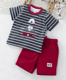 ToffyHouse Half Sleeves Car Patched T-Shirt & Shorts Set - Navy Fuchsia