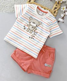 ToffyHouse Tee & Corduroy Shorts Bear Patch - Off White