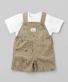 ToffyHouse Half Sleeves Tee With Map Print Dungaree - Light Brown